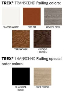 TREX Transcend Railing Colors