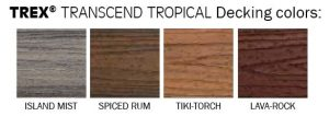 TREX Transcende Tropical Decking Colors